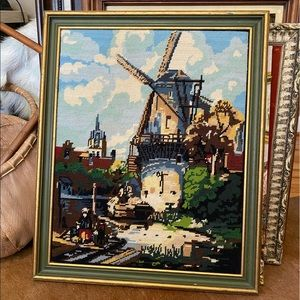 vintage needlepoint of european windmill